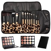 12PCS White Handle Makeup Brush Set with Leopard Package  15 Color Concealer